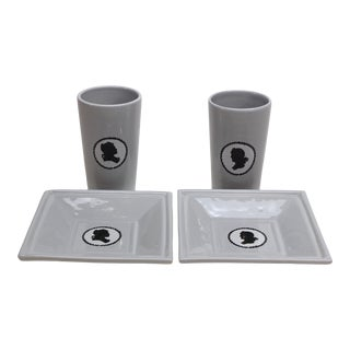 Square Ceramic Silhouette Trays and Cups by Aime Cecil for Les Heritiers - Set of 4 For Sale