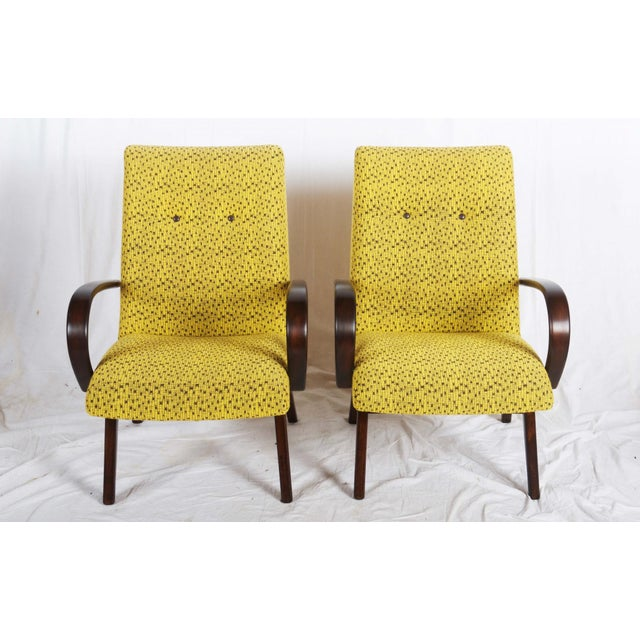 Mid-Century Czech Upholstered Chairs, 1960s - A Pair For Sale - Image 10 of 11