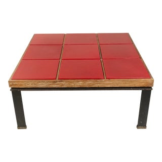 Mid-Century Red Leather and Oak Coffee Table For Sale