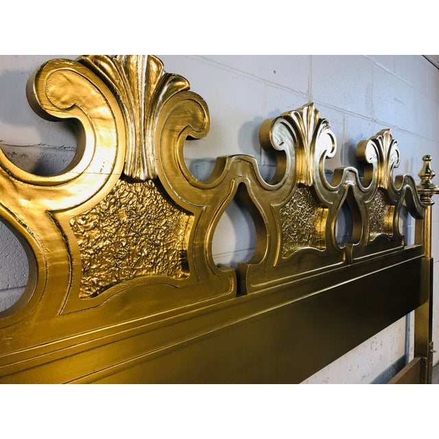 Hollywood Regency Style Gold King Size Headboard For Sale - Image 9 of 12
