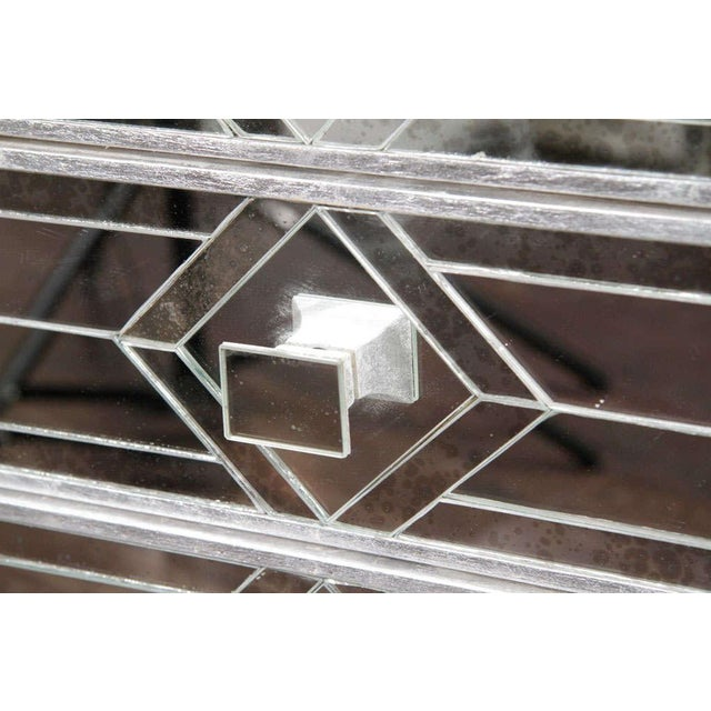 Glass Pair of Three-Drawer Mirrored Commodes For Sale - Image 7 of 10