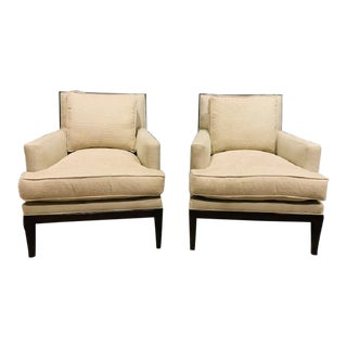 Henredon Carrington Beige Upholstered Club Chairs - a Pair For Sale