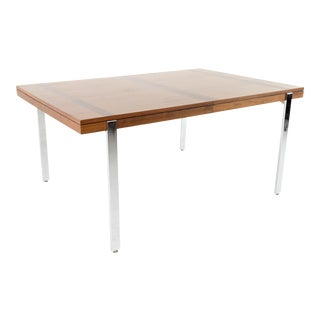 Milo Baughman Style Lane Rosewood and Chrome Mid Century Dining Table For Sale