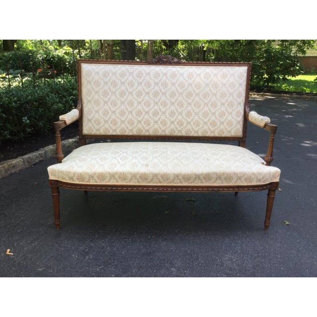 19th C. Louis XVI Style Walnut Settee For Sale - Image 9 of 9