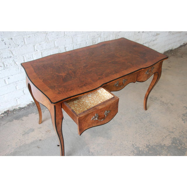 Brown Antique Italian Burl Wood Writing Desk For Image 8 Of 12