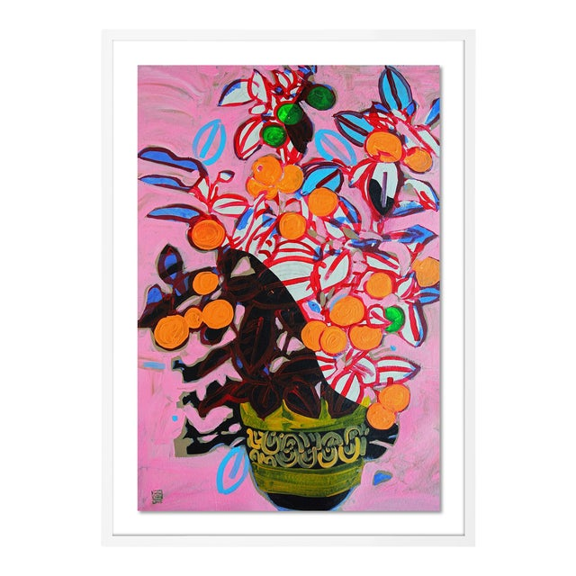 Orange Tree by Jelly Chen in White Framed Paper, Large Art Print For Sale