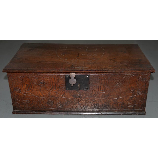 18th Century Carved Walnut Bible Box C.1763 For Sale In San Francisco - Image 6 of 11