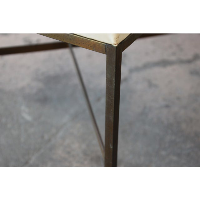 Paul McCobb for Directional X-Base Brass and Upholstered Stools or Benches, Pair For Sale - Image 10 of 11