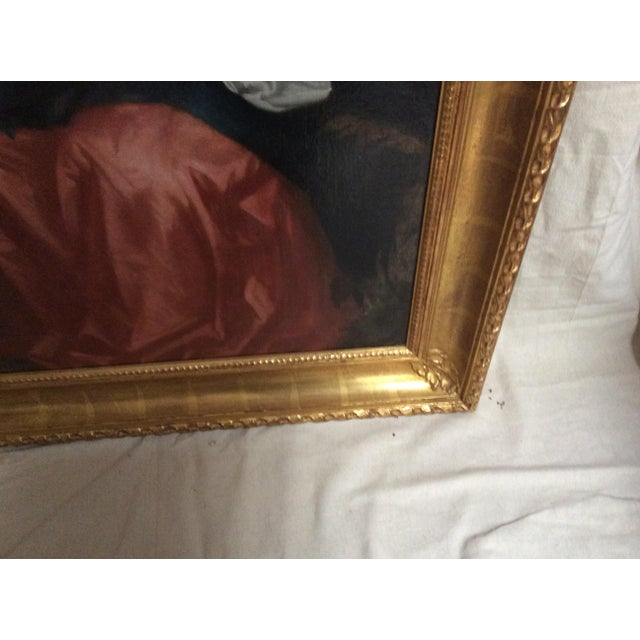 Canvas Antique Painting of a Young Woman For Sale - Image 7 of 11