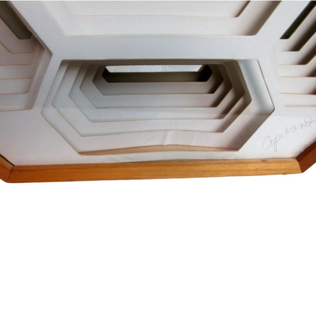 1970s Modern Greg Copeland Honeycomb Paper Sculpture Mirror For Sale In Chicago - Image 6 of 9