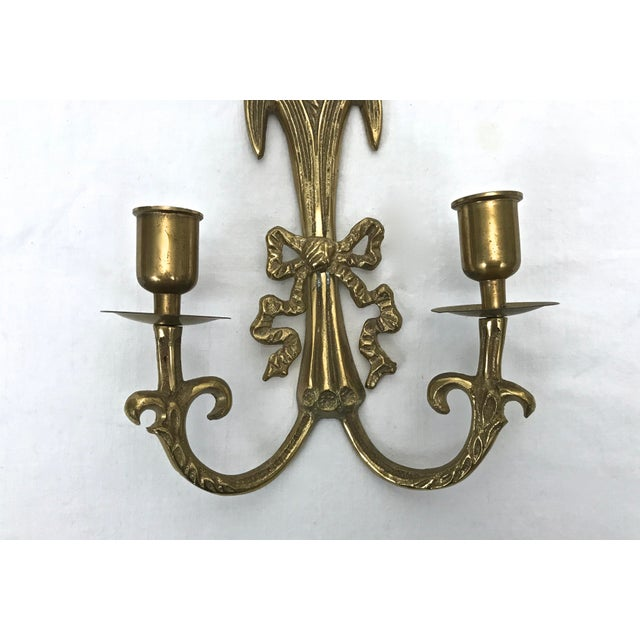 Brass Wall Sconces - A Pair For Sale - Image 4 of 8