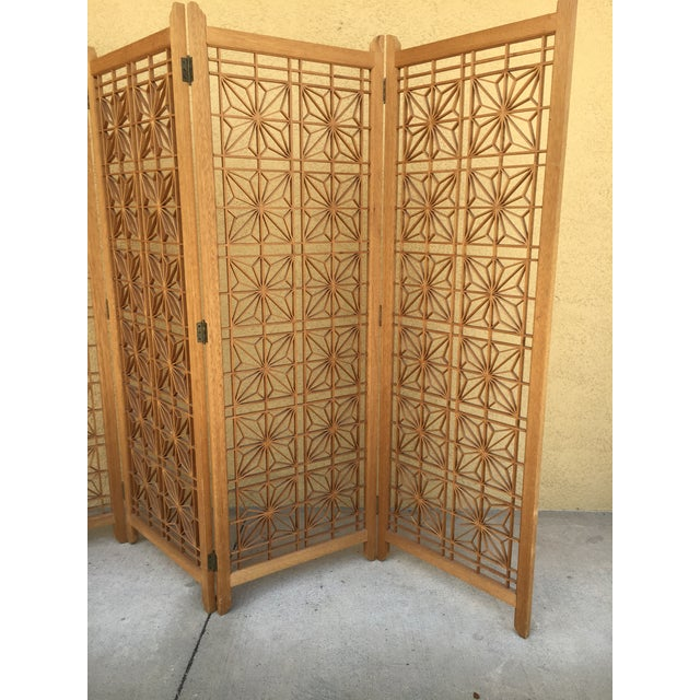 Mid-Century Modern Teak Folding Screen/ Room Divider For Sale In Tampa - Image 6 of 11
