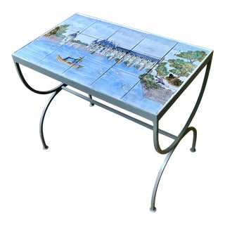 1980s French Handpainted Tile Table With French Chateau Chenonceau For Sale