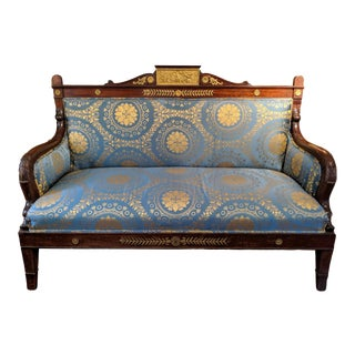 Early 19th Century French Empire Mahogany Settee For Sale