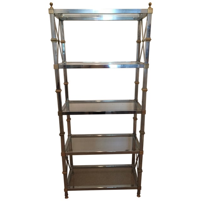 Maison Jansen Style Chrome & Brass Etagere For Sale