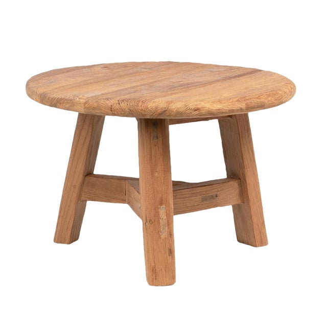 Reclaimed Teak Round Coffee Table For Sale