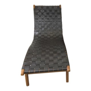 Mid Century Vintage Woven Leather Danish Chaise Lounge Chair For Sale