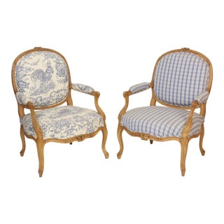 Louis XV Style Beech Wood Armchairs - a Pair For Sale