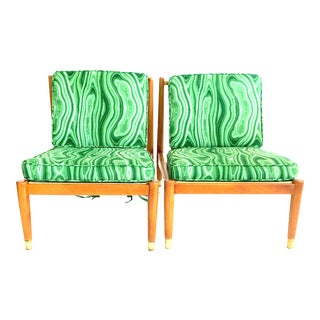 Mid Century Modern Swedish Pair of Beech Wood Slipper Chairs- A Pair For Sale
