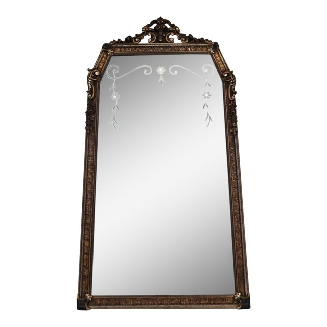 Early 20th C. Etched Glass and Gesso Mirror For Sale