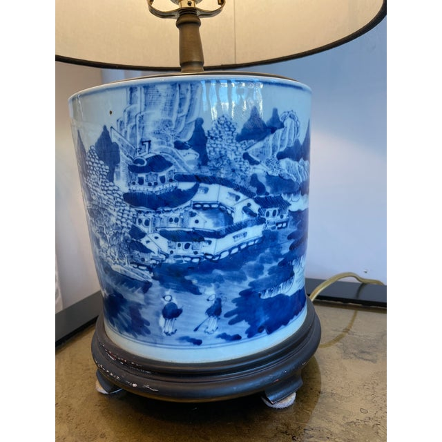 Chinoiserie Antique Chinoiserie Delftware Lamp For Sale - Image 3 of 7