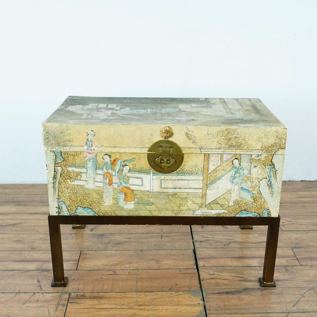 Antique Chinese export hand-painted leather trunk on iron stand, Early 20th Century.
