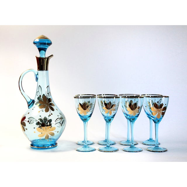 Blue Carafe With Glasses - Set of 9 - Image 2 of 6