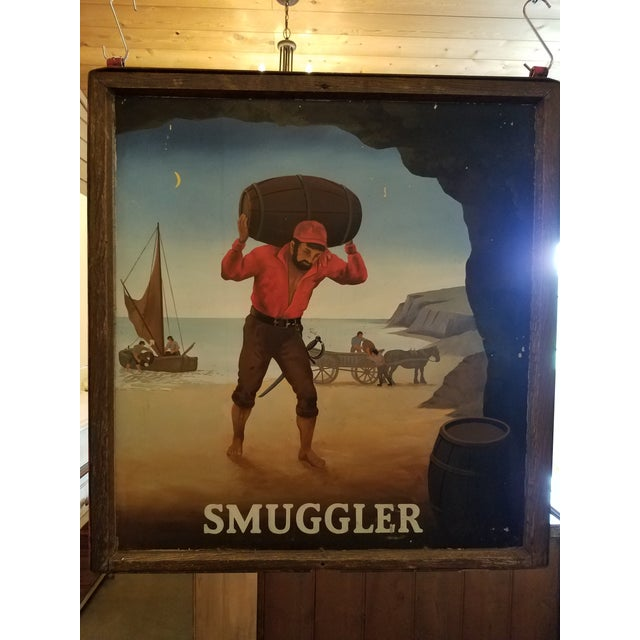 """United Kingdom Original Pub Sign - """"Smuggler"""" - Hand Painted - Double Sided - Metal/Wood Frame For the past couple of..."""