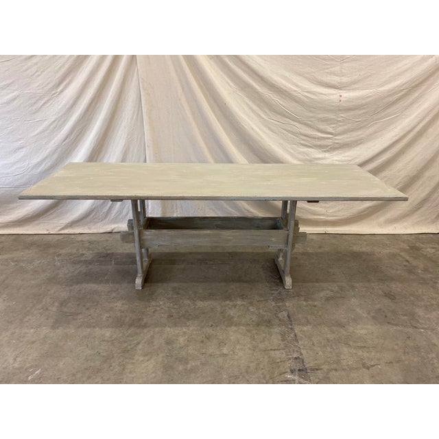 Late 19th Century Swedish Painted Trestle Dining Table For Sale - Image 5 of 10