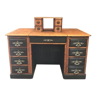 Antique Tiger Oak Desk on Casters With Concealed Secondary Desk Platform For Sale