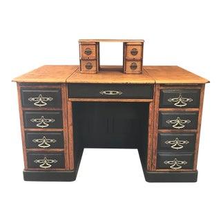 Antique Tiger Oak Desk on Casters With Concealed Secondary Desk Platform & Upper Drawer Unit For Sale