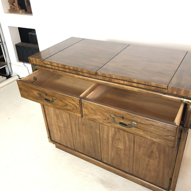 Drexel Campaign Fruitwood & Brass Bar Cabinet For Sale In San Antonio - Image 6 of 13
