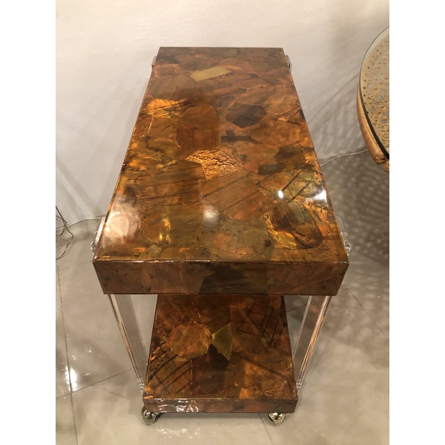 Vintage Brutalist Copper Brass Mixed Metals Patchwork Lucite Bar Cart For Sale - Image 10 of 13