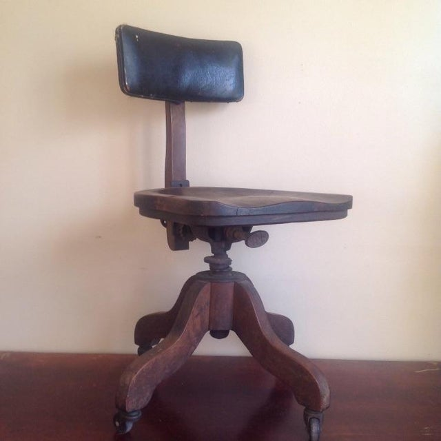 Early 1900s Sikes Wooden Office Swivel Chair - Image 2 of 7