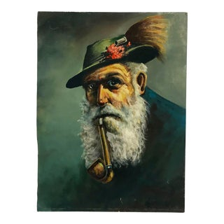 Vintage Portrait Oil Painting of a Bearded Man With a Hat and Pipe For Sale