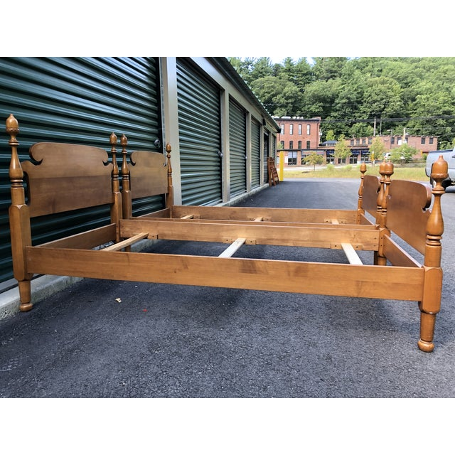 Solid Maple Vintage Acorn Top Twin Beds- a Pair For Sale - Image 11 of 13