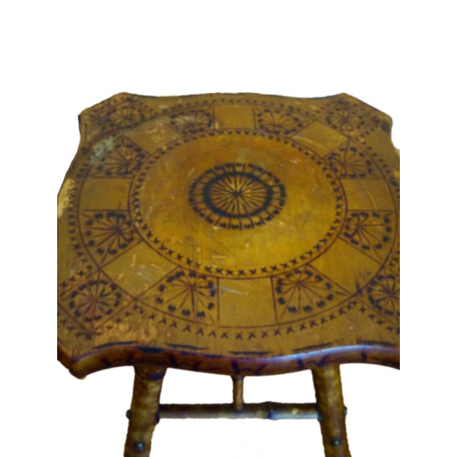 Antique Victorian Scorched Bamboo Side Table - Image 2 of 4