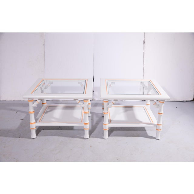Hollywood Regency 1960s Hollywood Regency Faux Bamboo Side Tables - a Pair For Sale - Image 3 of 8