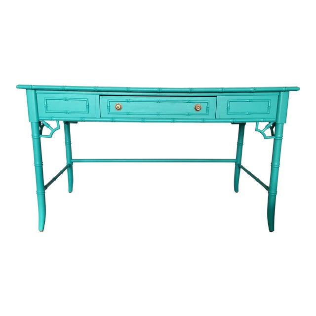 Thomasville Chinoiserie Faux Bamboo Desk For Sale
