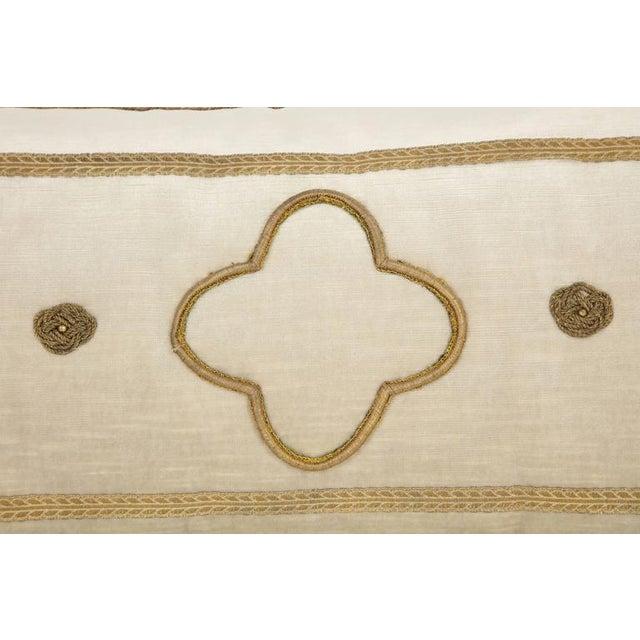 Hollywood Regency Long Velvet Embroidered Pillow For Sale - Image 3 of 8