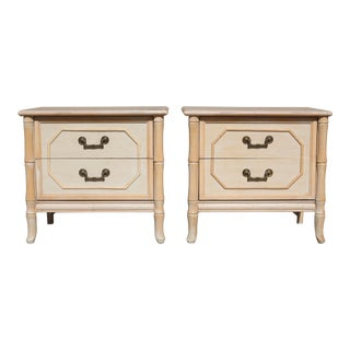 1970s Hollywood Regency Faux Bamboo Broyhill Chinoiserie Side Tables - a Pair For Sale