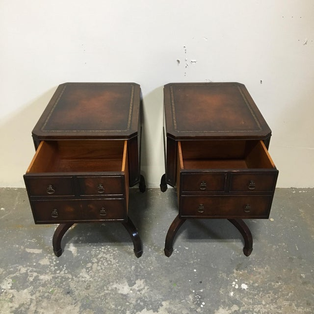 Tooled Leather Topped Side Tables - A Pair - Image 6 of 8