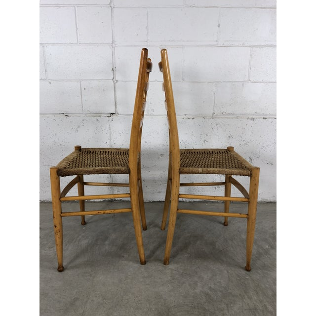 Tan Mid-Century Italian Beech Wood Ladder Back Chairs Gio Ponti Style, Pair For Sale - Image 8 of 10