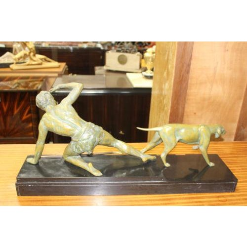 French Art Deco Patinated Metal Sculpture of Man With Dog by Jean De Roncourt - Image 8 of 8