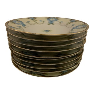 1900s Antique Mikado Japanese Hand Painted and Gilded Porcelain Plates - Set of 10 For Sale