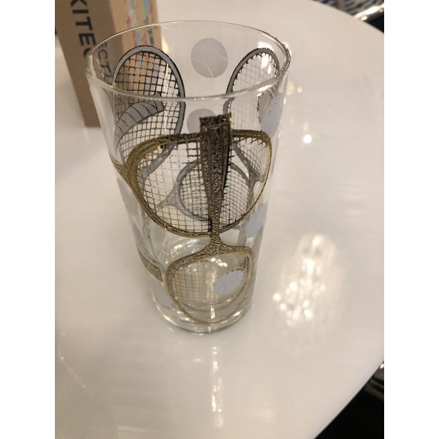 Signed Mid Century Modern Georges Briard Tennis Themed Ice Bucket & Pair of Tall Cocktail Glasses - Image 4 of 7
