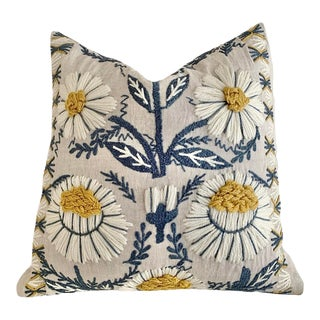 Schumacher Swedish Wool Embroidered Pillow Cover 18x18 For Sale