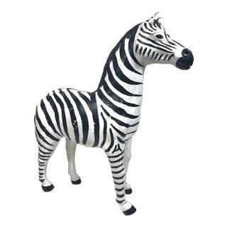 Vintage Leather Zebra Figurine For Sale