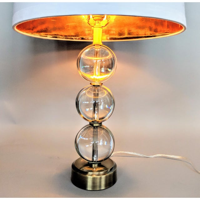 Global Views Global Views Crystal Ball Lamp in Brass With Linen & Gold Lined Shade - a Pair For Sale - Image 4 of 13