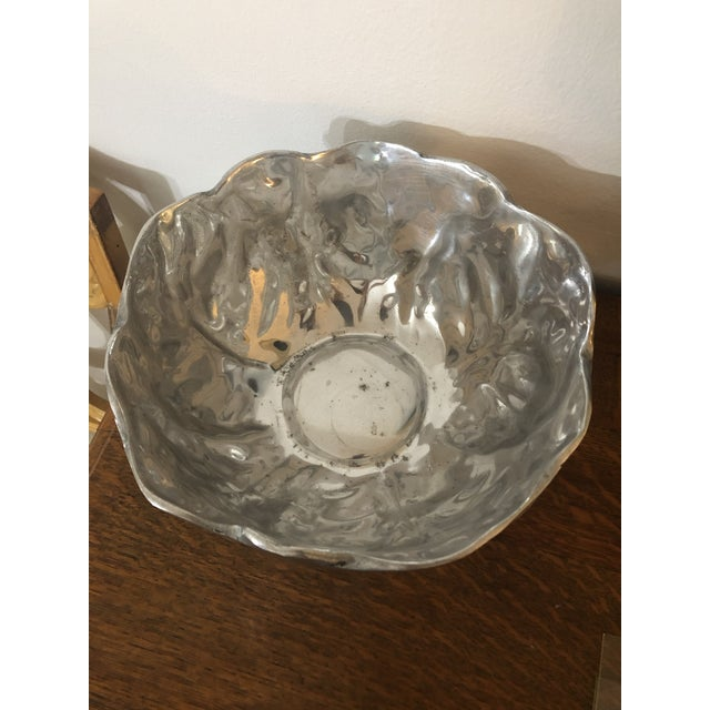 This lovely pewter bowl with its lettuce leaf pattern will serve up a large salad! It is equally at home as a centerpiece...
